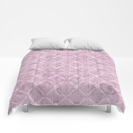 Faux Velvet Dusty Mauve Light Diamond Pattern Comforters