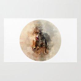 Dog running watercolor Rug