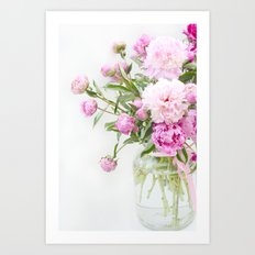 Shabby Chic Romantic Cottage Pink Peonies In Jar Art Print