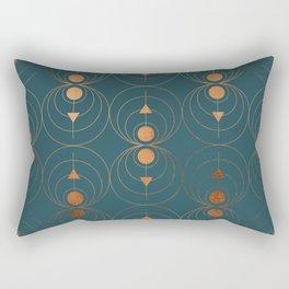 Copper Art Deco on Emerald Rectangular Pillow