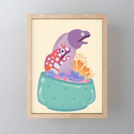 Eel flower pot Framed Mini Art Print