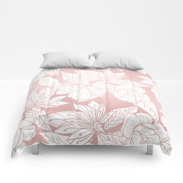 Modern white pink rose gold floral illustration Comforters