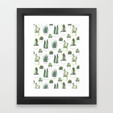 watercolour cacti and succulent Framed Art Print