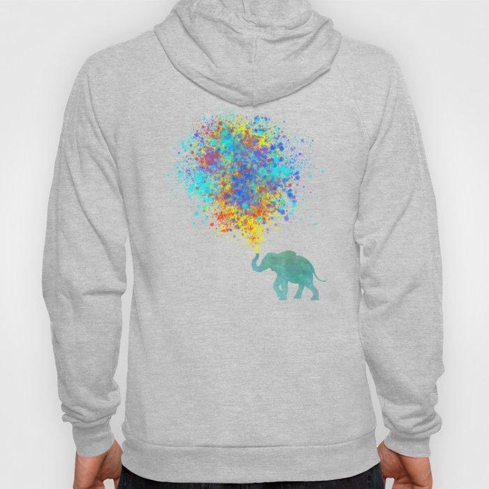 Elephant Colorful Celebration - watercolor splatter Hoody