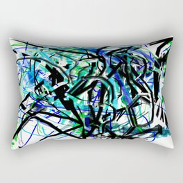 Abstract in Blue, Black, Aqua, Green, and White Rectangular Pillow