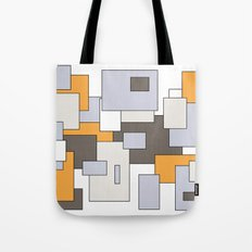 Squares - gray, orange and white. Tote Bag
