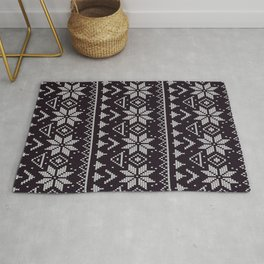 Knitted Christmas pattern in retro style ugly sweater design black Rug