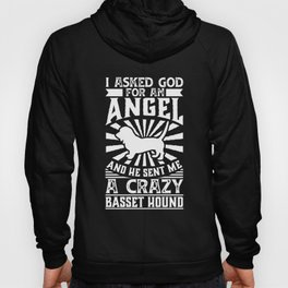 Dog Shirt Asked God for Angel He sent Me A Crazy basset hound Hoody
