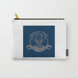 Powered By Veggies Vegan Elephant - Funny Veganism Quote Gift Carry-All Pouch
