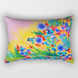 NATURAL ROMANCE in PINK - October Floral Garden Sweet Feminine Colorful Rainbow Flowers Painting Rectangular Pillow