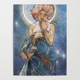 Alphonse Mucha Moonlight Art Nouveau Poster