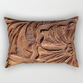 Vintage Worn Tooled Leather Rectangular Pillow