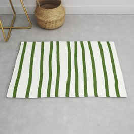 Simply Drawn Vertical Stripes in Jungle Green Rug