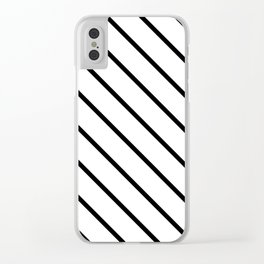 Diagonal Lines (Black & White Pattern) Clear iPhone Case