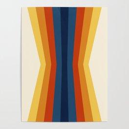 Bright 70's Retro Stripes Reflection Poster