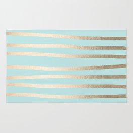 Simply Drawn Stripes White Gold Sands on Succulent Blue Rug
