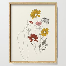Colorful Thoughts Minimal Line Art Woman with Flowers III Serving Tray