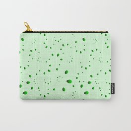 A lot of green drops and petals on a grassy background in mother of pearl. Carry-All Pouch