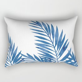 Palm Leaves Dark Blue Rectangular Pillow