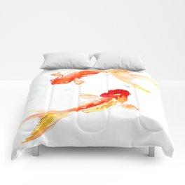 Goldfish, Two Koi Fish, Feng Shui, yoga Asian meditation design Comforters