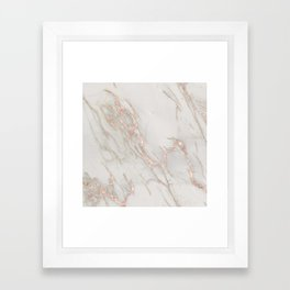 Marble Rose Gold Blush Pink Metallic by Nature Magick Framed Art Print