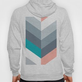 Vertical Chevron Pattern - Teal, Coral and Dusty Blues #geometry #minimalart #society6 Hoody