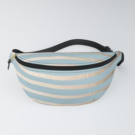 Abstract Drawn Stripes Gold Tropical Ocean Sea Blue Fanny Pack