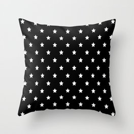 Black Background With White Stars Pattern Throw Pillow