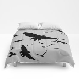 FLOCK OF RAVENS IN GREY SKY Comforters