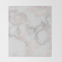 Elegant blush tones pink rose gold white marble Throw Blanket