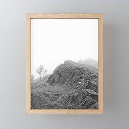 Foggy Mountain Landscape, Black and White Framed Mini Art Print