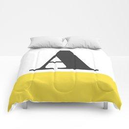 Monogram Letter A-Pantone-Buttercup Comforters