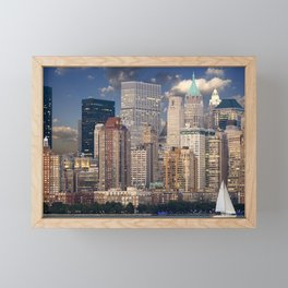 Downtown NYC at twilight Framed Mini Art Print