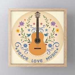 Peace Love And Music Folk Guitar Badge Framed Mini Art Print