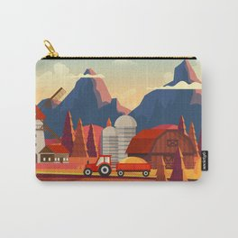 Rural Farmland Countryside Landscape Illustration Carry-All Pouch