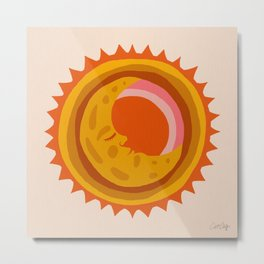 Moon Glow – Retro Ochre Metal Print