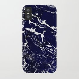 Modern Navy blue watercolor marble pattern iPhone Case