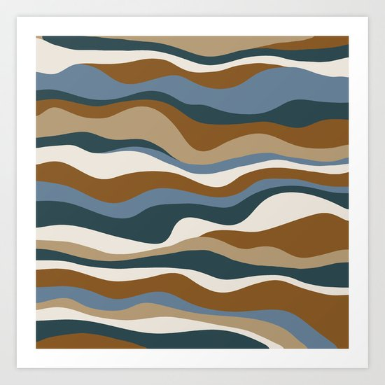 Cordillera Stripe: Teal Blue & Rusty Orange Combo Art Print