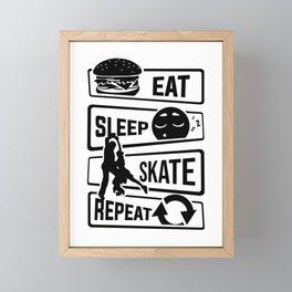 Eat Sleep Skate Repeat - Figure Skating Winter Ice Framed Mini Art Print