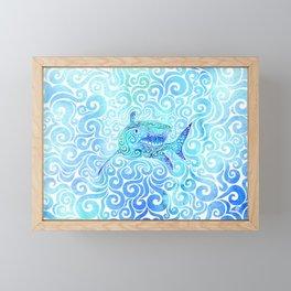 Swirly Shark Framed Mini Art Print