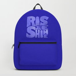 Rise and Shine - blue typography Backpack
