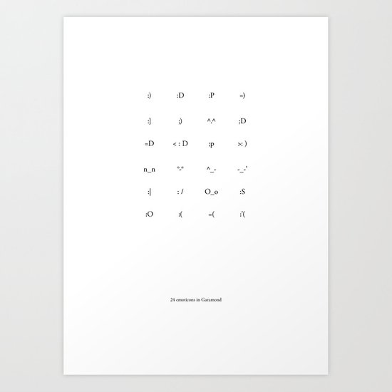 24 Emoticons in Garamond Art Print