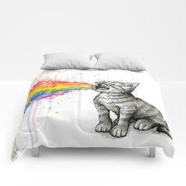 Kitten Puking Rainbow Comforters