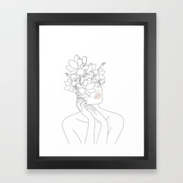 Minimal Line Art Woman with Magnolia Framed Art Print