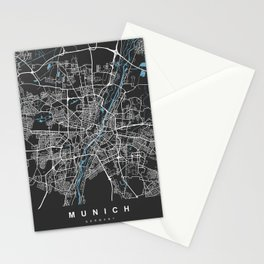 Munich Map Germany | Black & Blue | More Colors, Review My Collections Stationery Cards