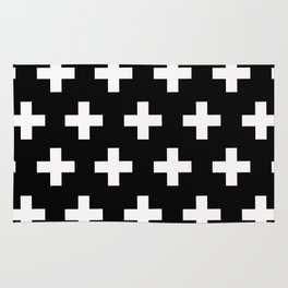 Black with White Crosses Rug