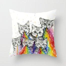 Kittens Puking Rainbows Throw Pillow