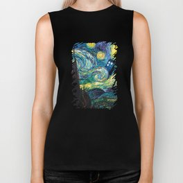 Tardis Art Starry Painting Night Biker Tank