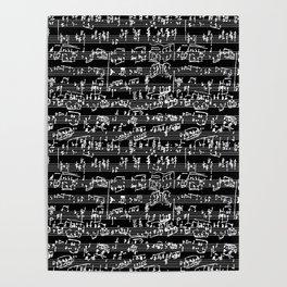 Hand Written Sheet Music // Black Poster
