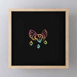 flying skull doodle painting gradient Framed Mini Art Print